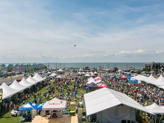 An aerial view of a past Hop Sauce Festival at Beach Haven's Veterans Memorial Park.