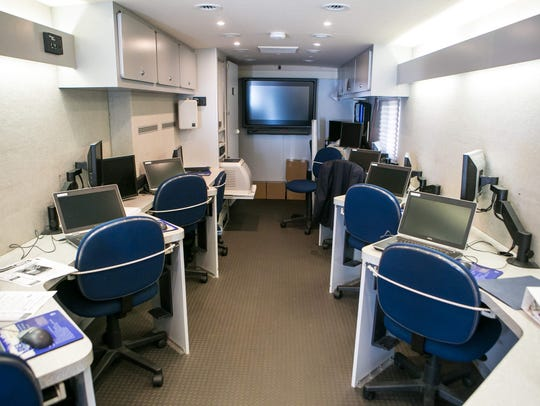 The Mobile One-Stop is equipped with computers and