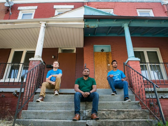 Young entrepreneurs COO Bryce Fender (from left), CFO Demetrius Thorn and CEO Joel Amin Jr. formed WilmInvest, a company that plans on buying distressed properties in Wilmington and renovating them for supportive housing.