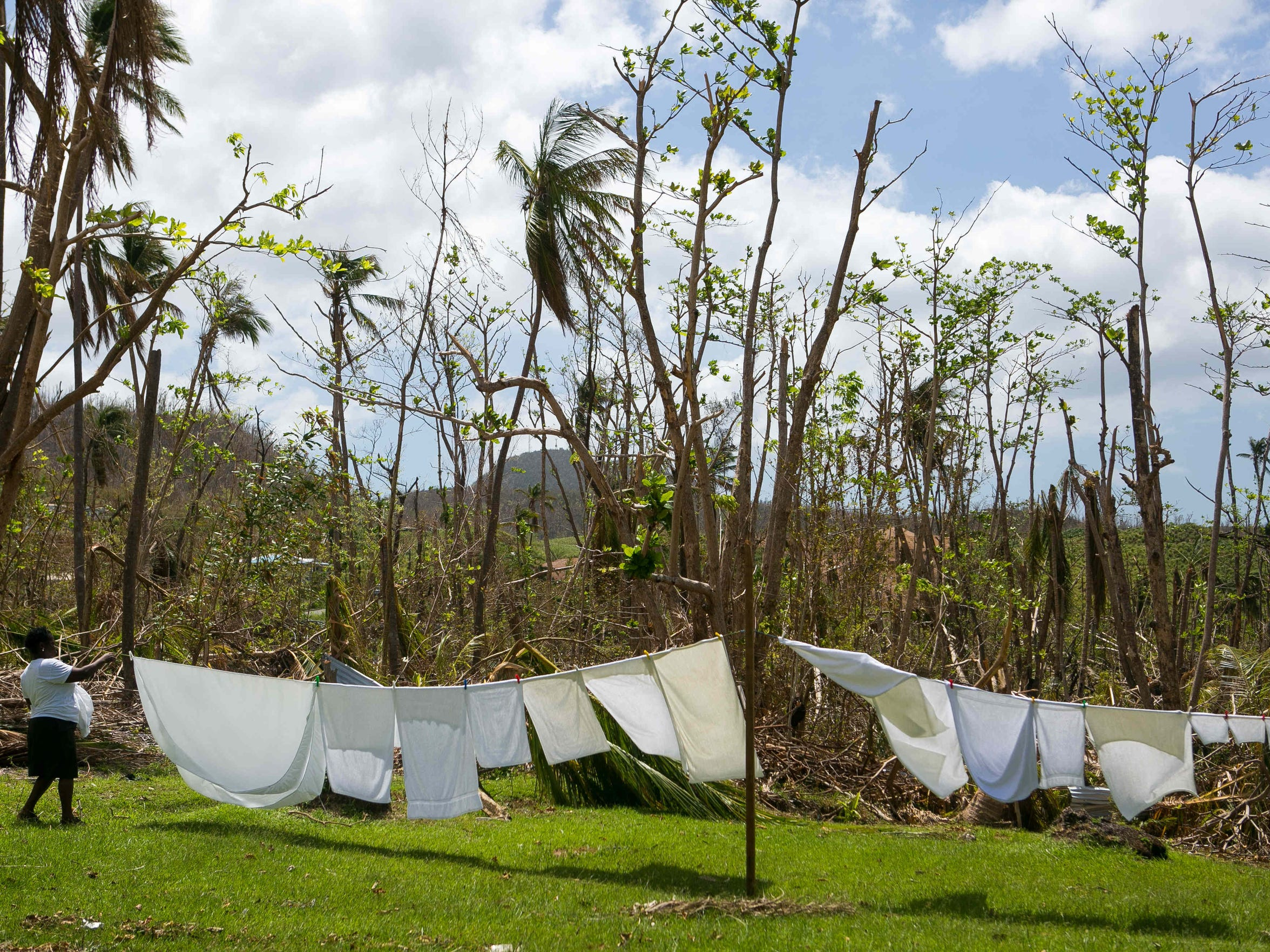 An employee at the Portsmouth Beach Hotel hangs bedsheets and towels next to what used to be a lush landscape in Portsmouth, Dominica.