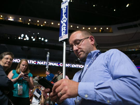Deleware delegate Erik Raser-Schramm of Townsend arrives for Democratic National Convention at the Wells Fargo Center in Philadelphia in 2016. On Friday he issued a statement supporting a regulation that would protect transgender students from discrimination in Delaware public schools.