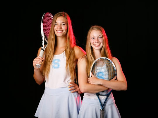 South Salem High School seniors Selbie Christensen, left, and Kellie McSween, right, are nominated for Girls Tennis Player of the Year as a doubles team for the 2018 Statesman Journal Mid-valley Sports Awards. Photographed at the Statesman Journal in Salem on Wednesday, May 23, 2018.