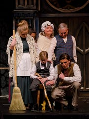 """The Cratchit family, including Tiny Tim, are played by members of the Central Assembly of God congregation in """"Scrooge: A Dramatic Musical."""""""
