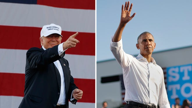 Republican presidential nominee Donald Trump and President Obama.