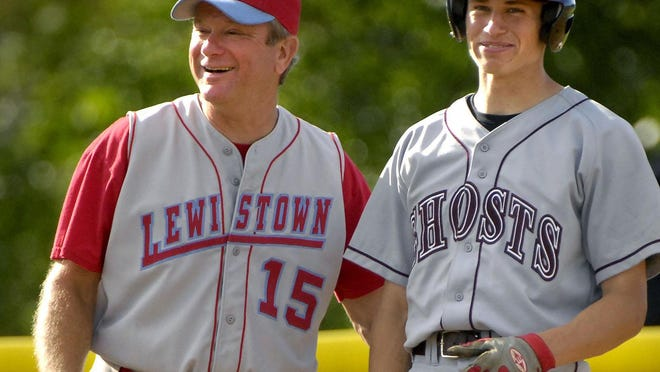 Longtime Lewistown baseball coach Ned Graham, left, talks with former Illinois Valley Central player Josh Parr during the 2008 Illinois Coaches Association all-star game at EastSide Centre in East Peoria.
