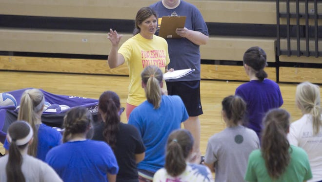 Fowlerville High School volleyball coach Michelle Hardenbrook says her team improved during Wednesday's quad at Okemos.