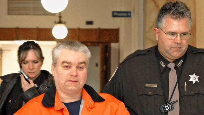 Steven Avery is escorted through the halls of the Manitowoc County Courthouse on Jan. 29, 2007 in Manitowoc.
