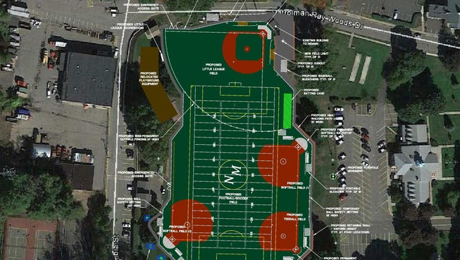 A mock-up of the turf field that will be constructed behind the borough hall.