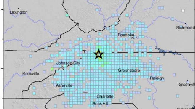 USGS intensity map of a 5.1 magnitude earthquake reported just after 8 a.m. Sunday.