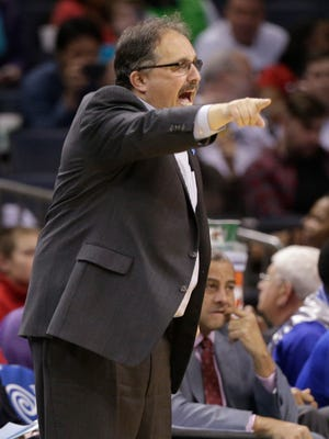 Detroit Pistons head coach Stan Van Gundy directs his team against the Charlotte Hornets during the second half of an NBA basketball game in Charlotte, N.C., Wednesday, April 1, 2015. The Hornets won 102-78.