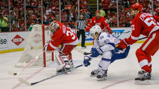 Red Wings goalie Petr Mrazek blocks a shot by the Lightning's Vladislav Namestnikov during the second period of the Wings' 2-0 win in Game 3 of the Eastern Conference quarterfinals Sunday at Joe Louis Arena.
