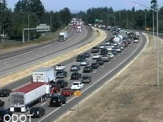 Traffic on I-5 northbound at the Portland Road exit late Monday morning.