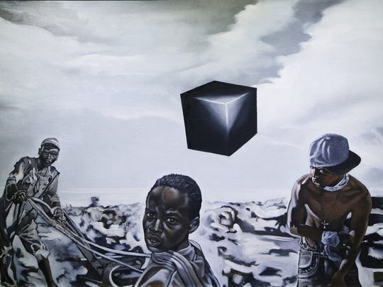 An oil on wood work titled ?The Black Box? by artist