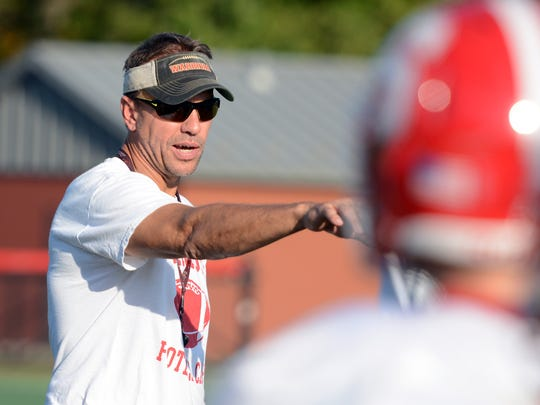 Susquehannock head coach Steve Wiles directs practice at the school Tuesday, Oct. 10, 2017.  Bill Kalina photo