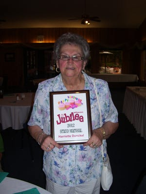 Harriette Dunckel, shown in 2012, when she was the Williamston Red Cedar Jubilee's grand marshal. She died April 28 at age 89.