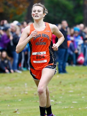 Cedar Grove-Belgium's Emily Sass competes on Division 2 girls cross country Saturday during WIAA State Cross Country at Ridges Golf Course in Wisconsin Rapids.