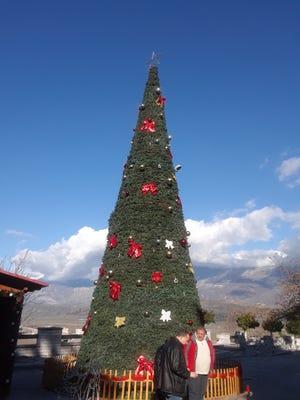 A Christmas tree decorates Gjirokastër's Topulli Square in Albania.