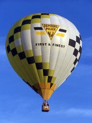 The Deptford Police Department hot air balloon includes the township colors.