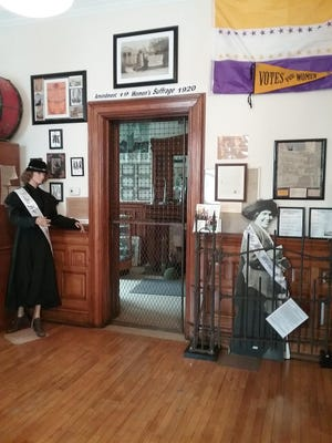 The 2020-21 Women's Suffrage centennial exhibit at the Little Falls Historical Society Old Bank Museum at 319 South Ann St.