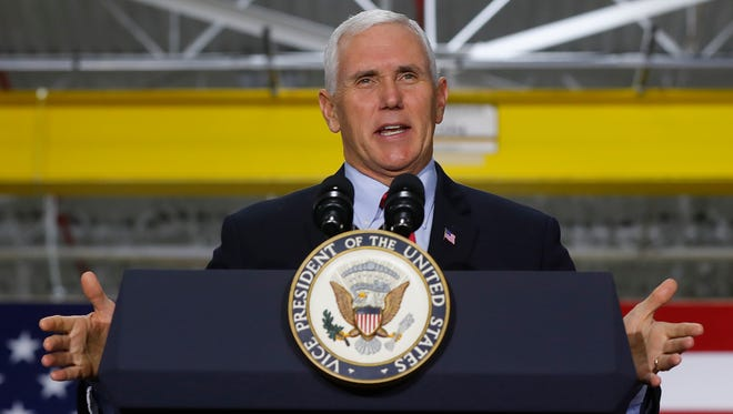 Vice President Mike Pence speaks at American Axle & Manufacturing in Auburn Hills, Mich., Sept. 18, 2017.