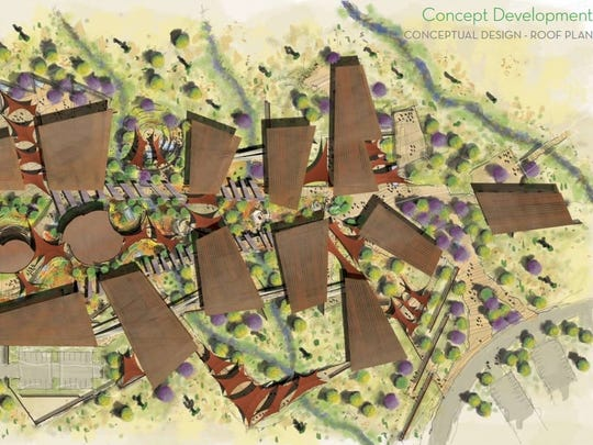 A September 2010 study included conceptual designs for a Desert Discovery Center in Scottsdale, including this image of a potential site plan.