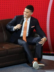 Phoenix Suns guard Devin Booker is interviewed during