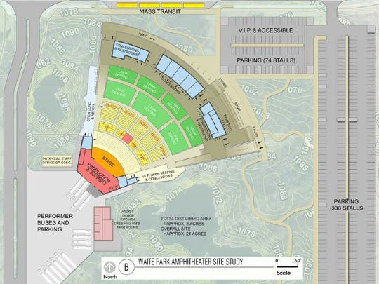 The concept plan for a proposed amphitheater in Waite