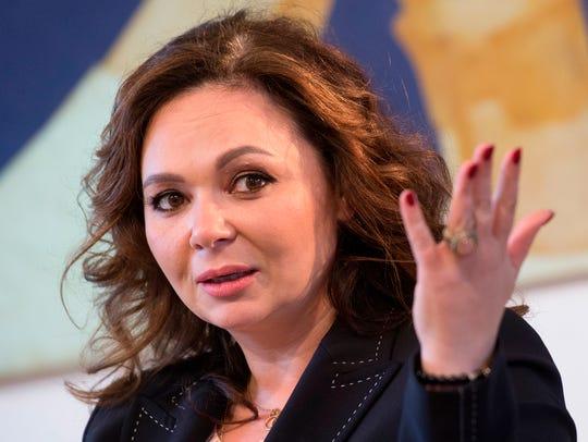 Russian lawyer Natalia Veselnitskaya speaks during