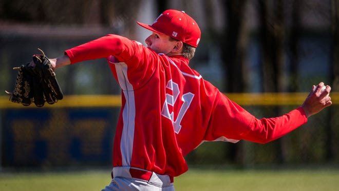 Conrad's Ryan Bradigan delivers a pitch in Conrad's 11-0 win over Newark Charter on Wednesday afternoon.