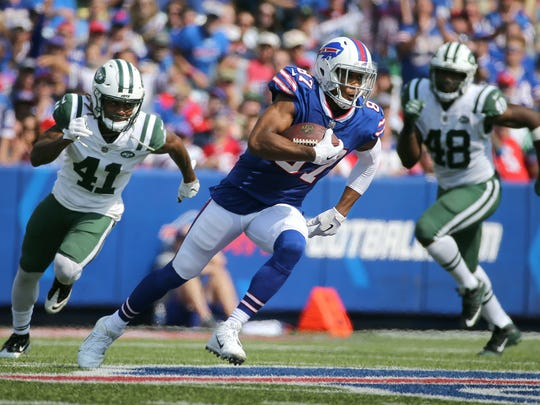 Bills receiver Jordan Matthews keeps a drive alive with a long catch and run against the Jets.