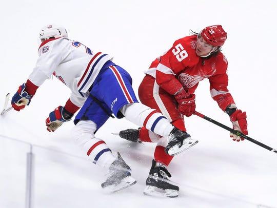 Montreal Canadiens defenseman Jeff Petry (26) trips