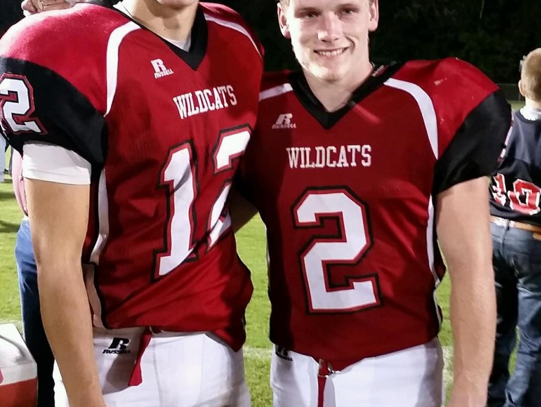 Andrews football players Drew Pyle, left, and Taylor Parker.