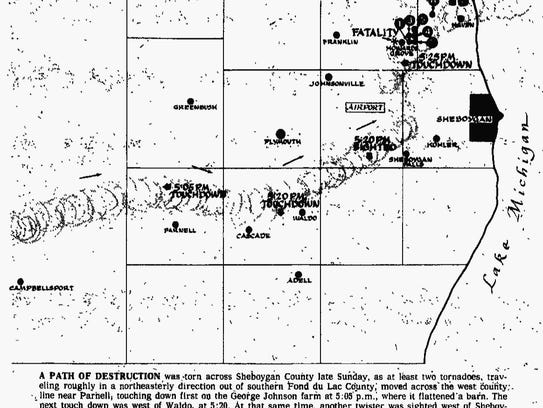 Map of the April 21, 1974, Howards Grove tornado's