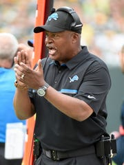 Detroit Lions head coach Jim Caldwell reacts in the
