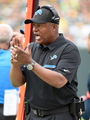 Detroit Lions head coach Jim Caldwell reacts in the fourth quarter during the game against the Green Bay Packers at Lambeau Field.