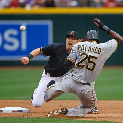 The Pirates' Gregory Polanco slides safely into second