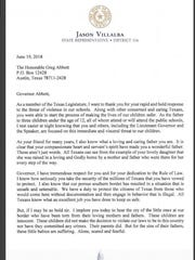 Texas State Representative Jason Villalba (R-Dallas) on Tuesday wrote an open letter to Governor Greg Abbott about immigrant children being separated from their parents at the border. The letter was posted on Villalba's Twitter account.