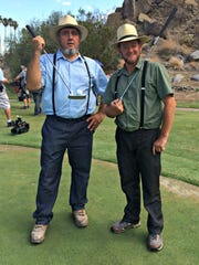 """Albert (left) and Leon were in Palm Springs shooting their reality show """"Amish Renogades"""" where they teamed up with a local Palm Springs couple to remodel a room in their home."""