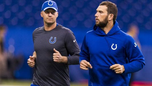 Matt Hasselbeck (left) will give up the reins with Andrew Luck is healthy again.