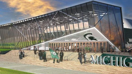 An artist's rendering of proposed renovations to Michigan State's Munn Ice Arena.