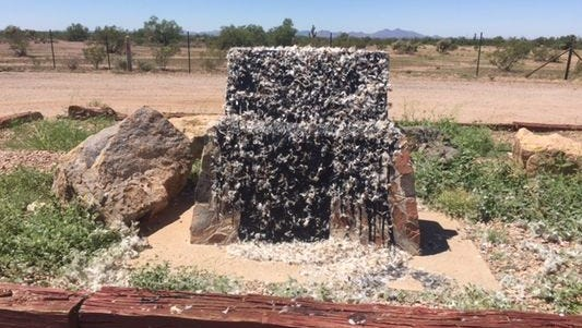Defaced Jefferson Davis highway monument
