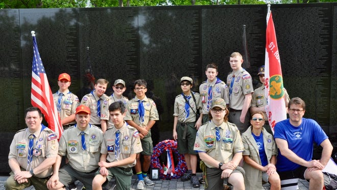 Troop 17 Boy Scouts from St. Rose of Lima Church in Millburn visit the Vietnam War Memorial during a visit to Washington, D.C., on April 28.