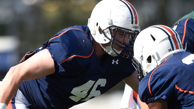 Chris Laye was the lone scholarship tight end on Auburn's spring roster.