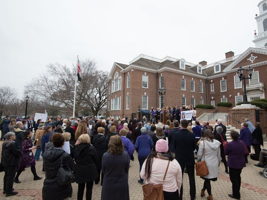 A rally for the Delaware Equal Rights Amendment took place on the steps of Legislative Hall in Dover in March.