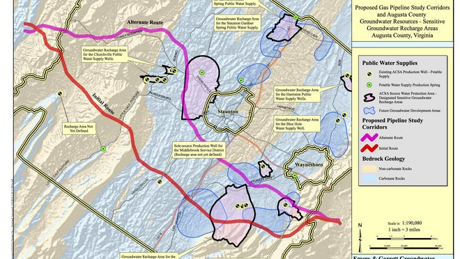 Submitted Dominion?s proposed route would send the pipeline through groundwater recharge areas in Churchville and Lyndhurst, the latter of which is the site of Augusta?s largest source of public groundwater supply. Augusta County water resource map
