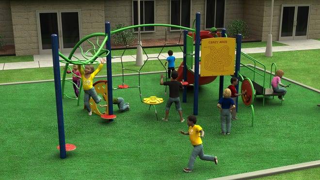 A rendering depicts the playground equipment that may be installed at Trigg Park in Brownwood.