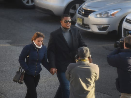 Mets closer Jeurys Familia and his wife Bianca Rivas arrive at Fort Lee Municipal Court on December 15th, 2016. Charges against him were dismissed.