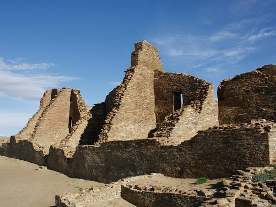 Photo of room blocks at Pueblo Bonito in Chaco Canyon,