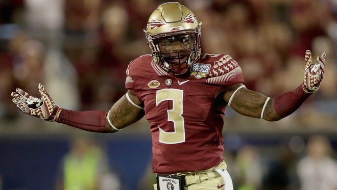 Florida State safety Derwin James reacts after a play against the Mississippi Rebels on Sept. 4 in Orlando.