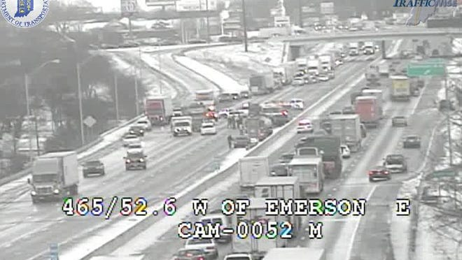 All lanes of westbound I-465 on the Indianapolis Southside were closed at 4:32 p.m. Jan. 16, 2014, near Emerson Avenue due to a crash.